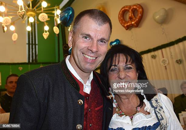 Regine Sixt and Peter Mey during the BMW Armbrustschiessen as part of the Oktoberfest 2016 at ArmbrustSchuetzenfesthalle on September 19 2016 in...