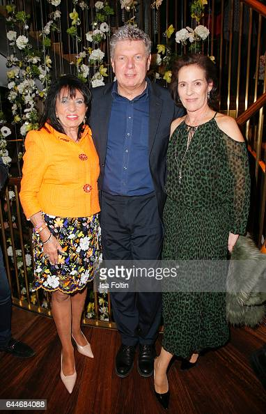 Regine Sixt owner of the Sixt rental car company Dieter Reiter major of Munich and KimEva Wempe attend the Wempe store opening on February 23 2017 in...