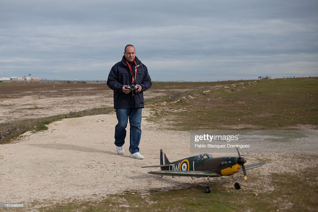Regino Gil, 44, attends to a remote controlled model aeroplane at the location where he has flown planes for the last 23 years and which is now the proposed site of the new 'Eurovegas' complex on February 10, 2013 in Alcorcon, near Madrid, Spain. Controversial plans have been given the go ahead for the Las Vegas Sands Corporation to build Europe's biggest casino and conference centre on the outskirts of Madrid bringing thousands of much needed jobs for the Spanish economy. As multi billionaire investor Sheldon Adelson's announced his plans protestors were claiming that the 36,000 room hotel complex would bring gambling addiction, criminal activity, prostitution and environmental damage to the area.