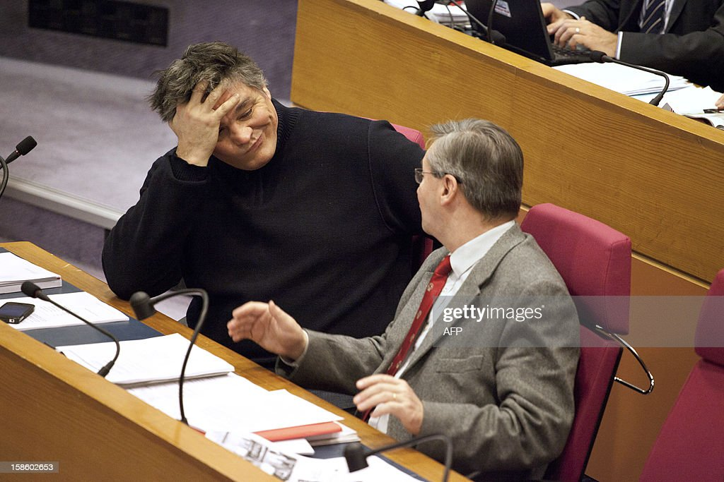 Regional adviser and former ministers David Douillet (L) attends a plenary session at the Regional Council of Ile-de-France on December 20, 2012 in Paris.