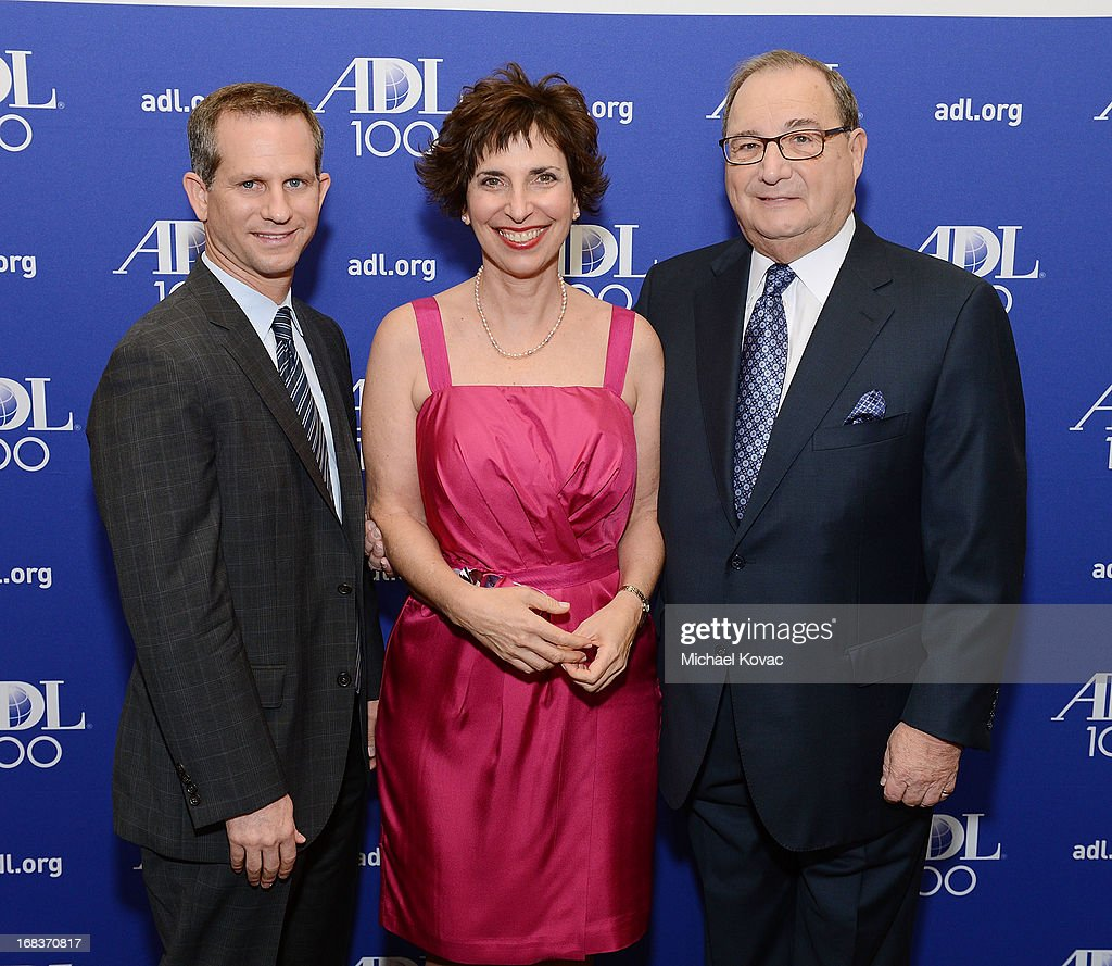 ADL Regional Board Chair Seth Gerber, ADL Regional Director Amanda Susskind, and ADL National Director Abraham Foxman attend the Anti-Defamation League Centennial Entertainment Industry Awards Dinner Honoring Jeffrey Katzenberg at The Beverly Hilton Hotel on May 8, 2013 in Beverly Hills, California.