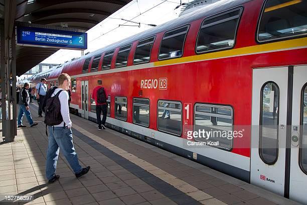 A regional commuter train of German railways carrier Deutsche Bahn arrives at main station on September 25 2012 in Fuerstenwalde Germany Deutsche...