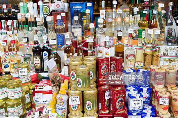 Regional food products on market stall in the Great Market Hall Budapest Hungary