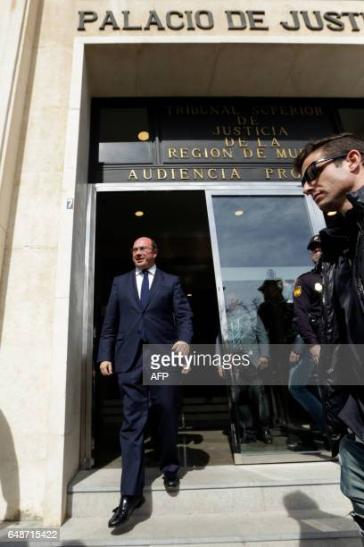 Regional president of Murcia conservative Pedro Antonio Sanchez leaves the court after a hearing in Murcia on March 6 2017 / AFP PHOTO / Edu BOTELLA