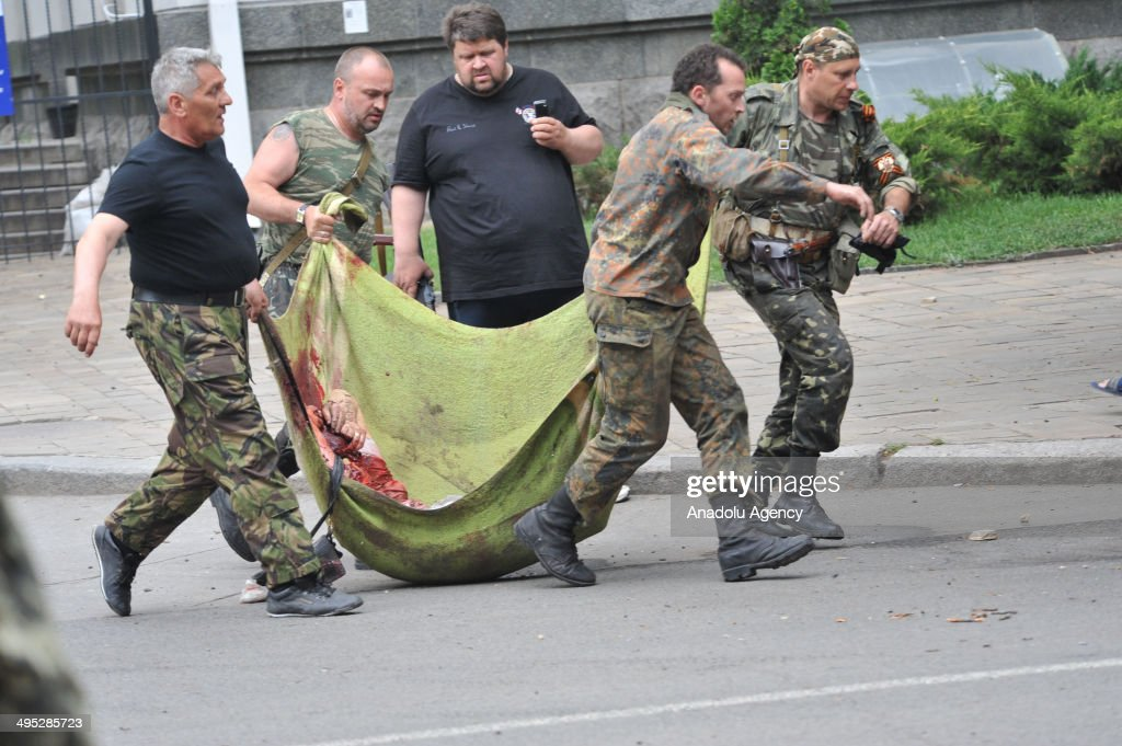 Regional State building seized by the separatists after an explosion in the Ukrainian city of Lugansk on June 2, 2014. Ukrainian forces suffered new 'losses' on Wednesday during a rebel offensive in the eastern stronghold region of Lugansk.