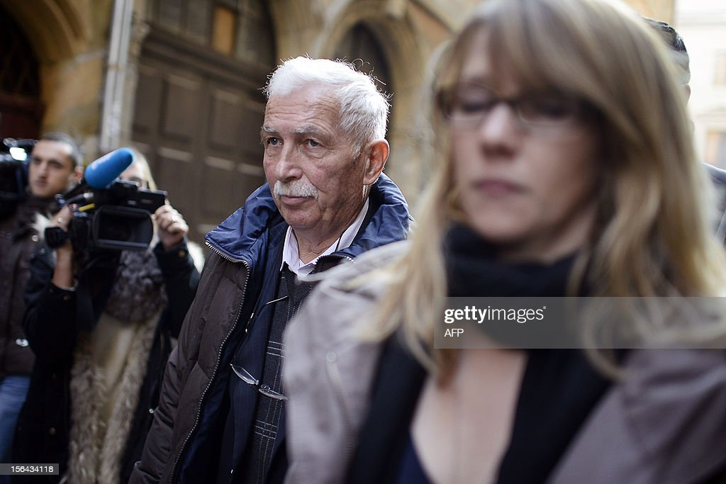 Regis de Camaret, former tennis coach who appears for rapes on two under-age women, 20 years ago, leaves the Lyon's courthouse on November 15, 2012 during his trial.