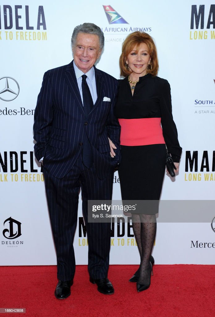 <a gi-track='captionPersonalityLinkClicked' href=/galleries/search?phrase=Regis+Philbin&family=editorial&specificpeople=202495 ng-click='$event.stopPropagation()'>Regis Philbin</a> and his wife <a gi-track='captionPersonalityLinkClicked' href=/galleries/search?phrase=Joy+Philbin&family=editorial&specificpeople=208836 ng-click='$event.stopPropagation()'>Joy Philbin</a> attend the New York premiere of 'Mandela: Long Walk To Freedom' hosted by The Weinstein Company, Yucaipa Films and Videovision Entertainment, supported by Mercedes-Benz, South African Airways and DeLeon Tequila at Alice Tully Hall, Lincoln Center on November 14, 2013 in New York City.