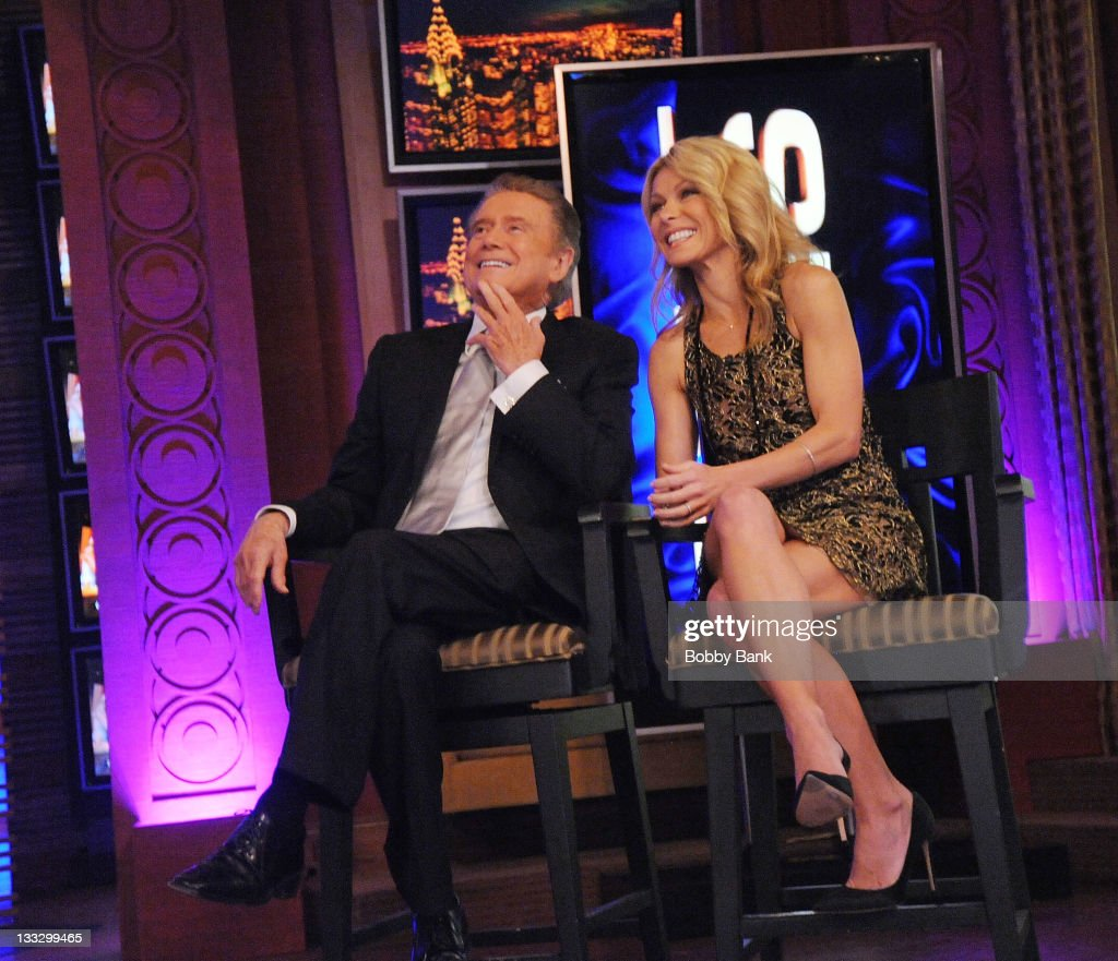 <a gi-track='captionPersonalityLinkClicked' href=/galleries/search?phrase=Regis+Philbin&family=editorial&specificpeople=202495 ng-click='$event.stopPropagation()'>Regis Philbin</a> and <a gi-track='captionPersonalityLinkClicked' href=/galleries/search?phrase=Kelly+Ripa&family=editorial&specificpeople=202134 ng-click='$event.stopPropagation()'>Kelly Ripa</a> during <a gi-track='captionPersonalityLinkClicked' href=/galleries/search?phrase=Regis+Philbin&family=editorial&specificpeople=202495 ng-click='$event.stopPropagation()'>Regis Philbin</a>'s Final Show of 'Live! with Regis & Kelly' at the Live with Regis & Kelly Studio on November 18, 2011 in New York New York.