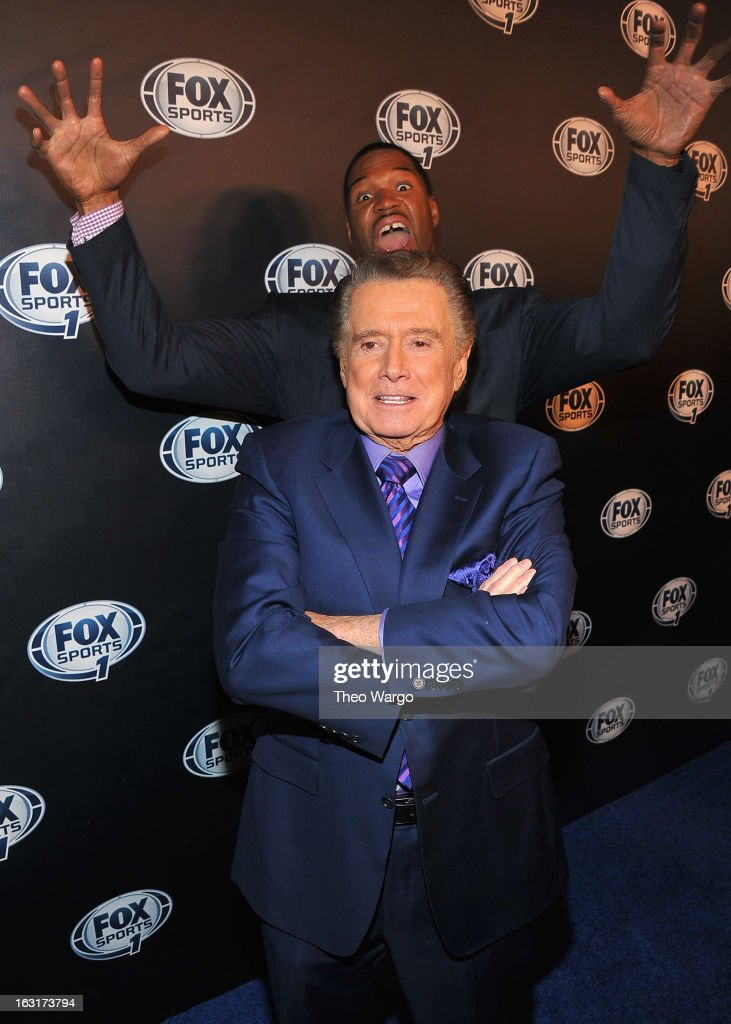 <a gi-track='captionPersonalityLinkClicked' href=/galleries/search?phrase=Regis+Philbin&family=editorial&specificpeople=202495 ng-click='$event.stopPropagation()'>Regis Philbin</a> and <a gi-track='captionPersonalityLinkClicked' href=/galleries/search?phrase=Michael+Strahan&family=editorial&specificpeople=210563 ng-click='$event.stopPropagation()'>Michael Strahan</a> attend the 2013 Fox Sports Media Group Upfront after party at Roseland Ballroom on March 5, 2013 in New York City.