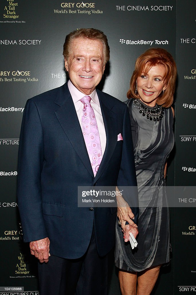 <a gi-track='captionPersonalityLinkClicked' href=/galleries/search?phrase=Regis+Philbin&family=editorial&specificpeople=202495 ng-click='$event.stopPropagation()'>Regis Philbin</a> and wife <a gi-track='captionPersonalityLinkClicked' href=/galleries/search?phrase=Joy+Philbin&family=editorial&specificpeople=208836 ng-click='$event.stopPropagation()'>Joy Philbin</a> attend the Cinema Society and BlackBerry Torch screening of 'You Will Meet a Tall Dark Stranger' at MOMA on September 14, 2010 in New York City.