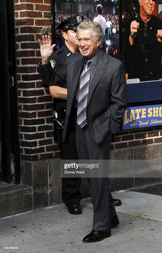 <a gi-track='captionPersonalityLinkClicked' href=/galleries/search?phrase=Regis+Philbin&family=editorial&specificpeople=202495 ng-click='$event.stopPropagation()'>Regis Philbin</a> arrives for the 'Late Show with David Letterman' at Ed Sullivan Theater on June 11, 2014 in New York City.