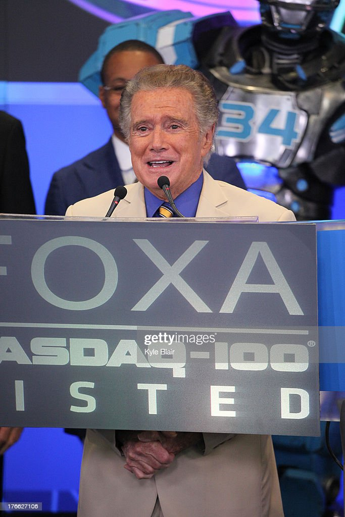 <a gi-track='captionPersonalityLinkClicked' href=/galleries/search?phrase=Regis+Philbin&family=editorial&specificpeople=202495 ng-click='$event.stopPropagation()'>Regis Philbin</a> rings the opening bell at the NASDAQ MarketSite on August 16, 2013 in New York City.