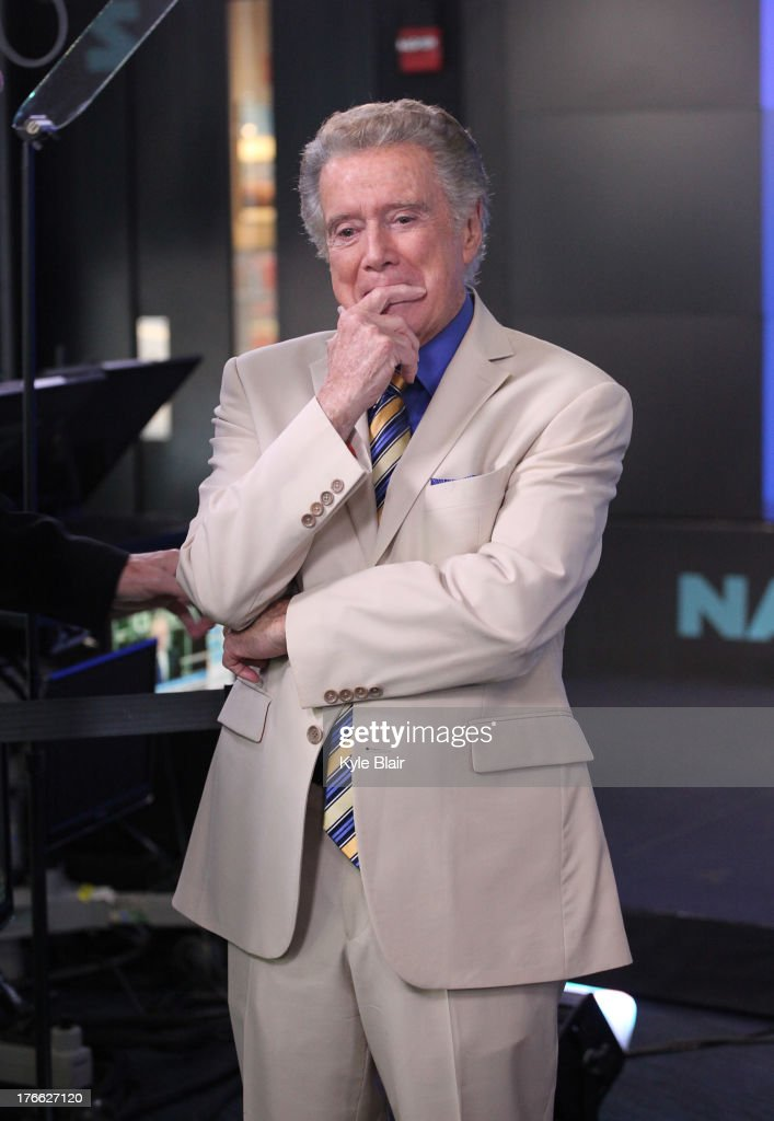 Regis Philbin rings the opening bell at the NASDAQ MarketSite on August 16, 2013 in New York City.