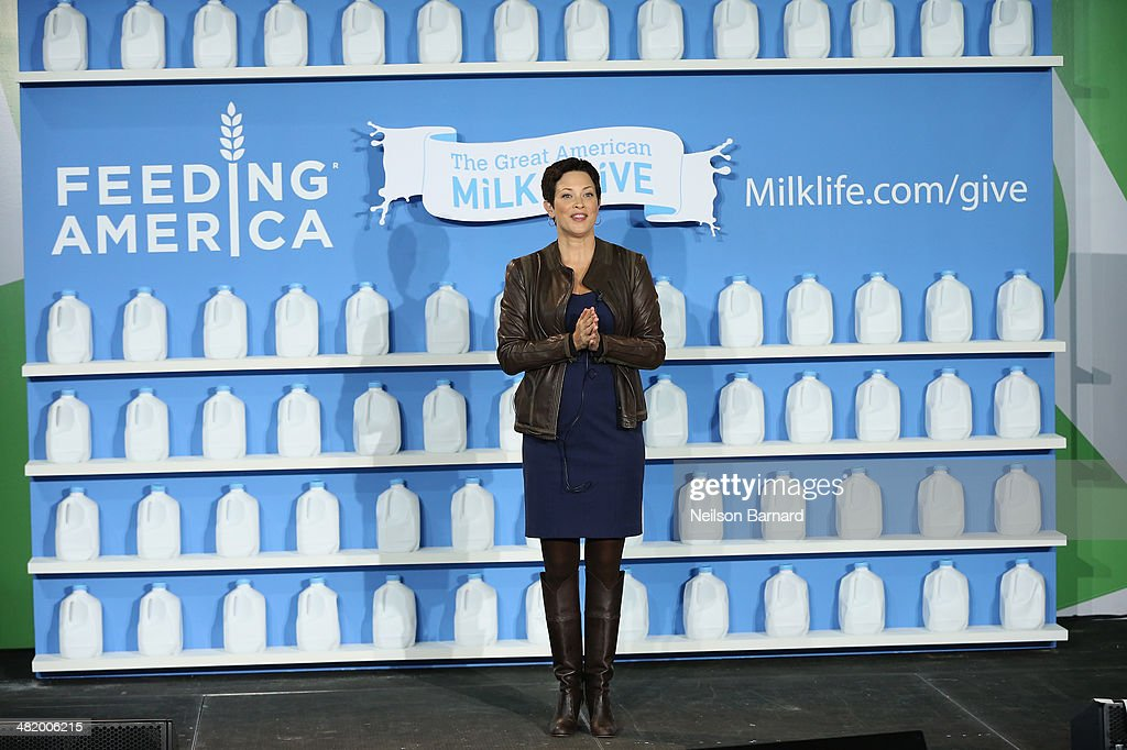 Registered dietition Ellie Krieger speaks onstage with Feeding America to launch the Great American Milk Drive at City Harvest Food Rescue Facility...