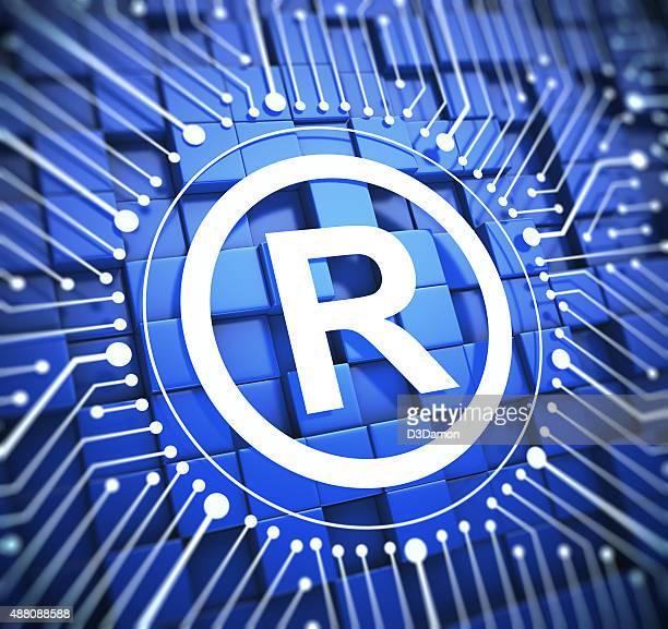 Registered mark on blue background