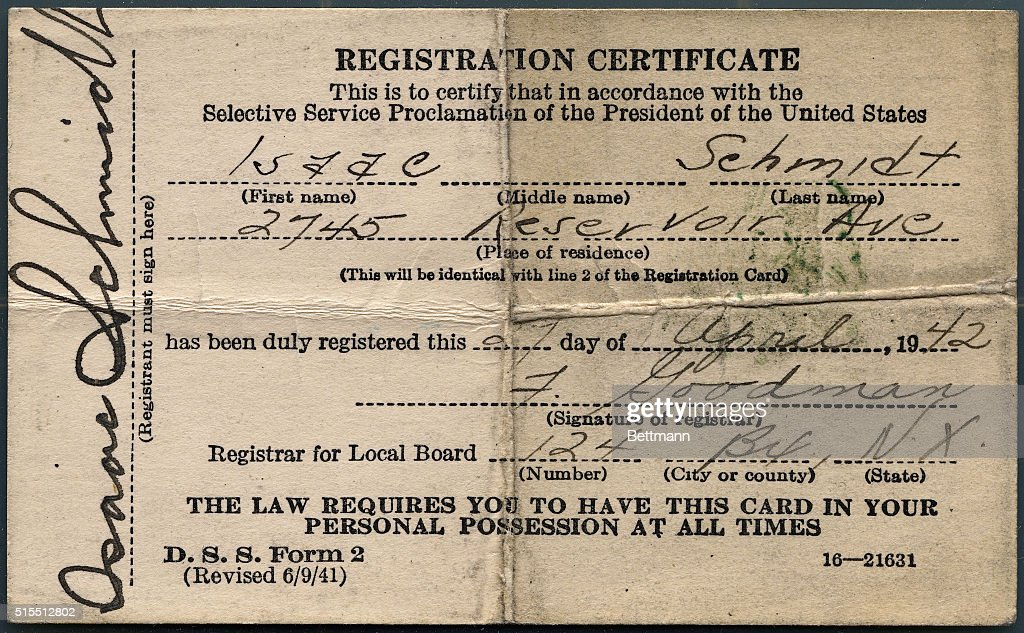 Front Side Of Selective Service Registration Certificate Pictures