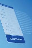 Registration form on computer screen