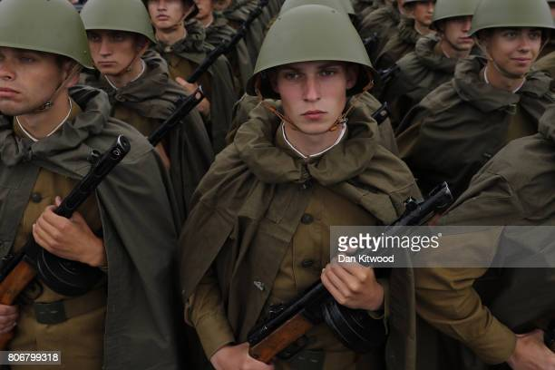 Regular Infantary troops wearing WWII uniform line up ahead of the Independence Day Parade on July 3 2017 in Minsk Belarus The parade included around...