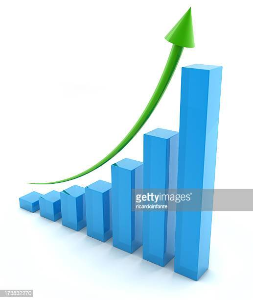 Regular upward trend on business graph
