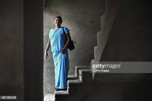 ALWAR RAJASTHAN ALWAR RAJASTHAN INDIA Rehabilitated manual scavenger Usha Chaumar stands on the stairs of her newly built three storey house...