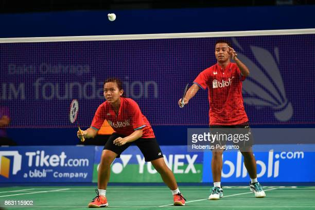 Rehan Naufal Kusharjanto and Siti Fadia Silva Ramadhanti of Indonesia compete against Lu Chen and Lin Jhih Yun of Chinese Taipei during Mixed Doubles...