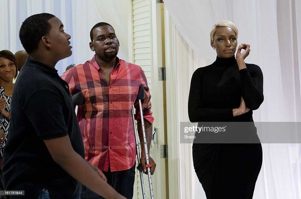 NENE -- 'Rehearsal Dinner' -- Pictured: (l-r) Sons Brentt Leakes, Bryson Bryant, <a gi-track='captionPersonalityLinkClicked' href=/galleries/search?phrase=NeNe+Leakes&family=editorial&specificpeople=5446374 ng-click='$event.stopPropagation()'>NeNe Leakes</a> --