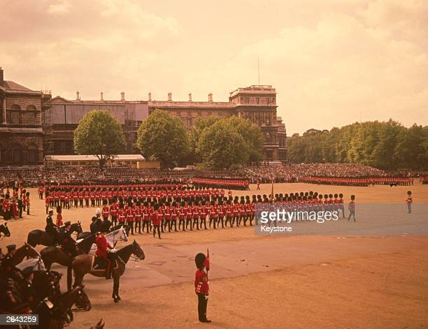A rehearsal of the Trooping the Colour ceremony