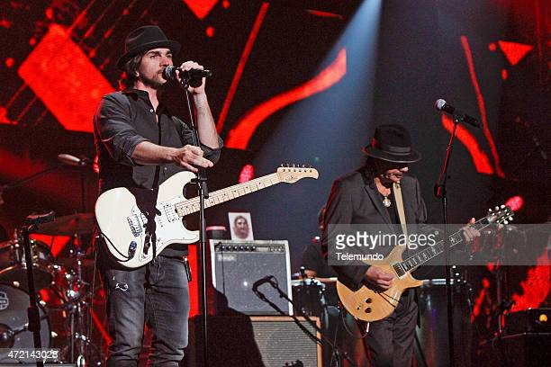 Juanes and Carlos Santana rehearse for the 2015 Billboard Latin Music Awards from Miami Florida at the BankUnited Center University of Miami on April...