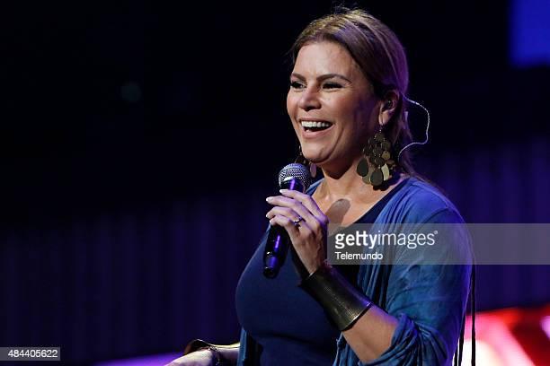 Olga Tañón rehearses for the 2015 Premios Tu Mundo at the American Airlines Arena in Miami Florida on August 17 2015 PREMIOS TU MUNDO 2015 Ensayo...