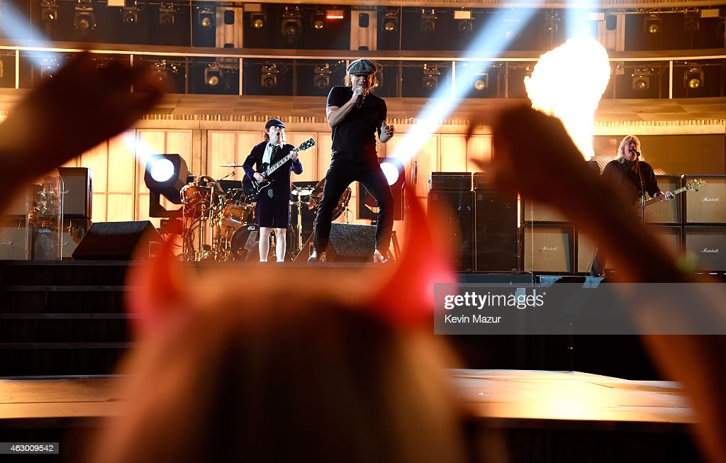 AC/DC rehearse before The 57th Annual GRAMMY Awards at STAPLES Center on February 8, 2015 in Los Angeles, California.
