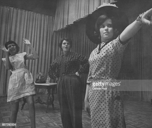 Rehearsing for a scene from 'Showboat' are from left Mary Ann McCallin 537 Steele St Mary Ann Casey 855 Pontiac St and Debbie Kullman of 664 Adams St...
