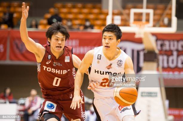 Rei Goda of the Osaka Evessa drives to the basket during the BLeague game between Toshiba Kawasaki Brave Thunders and Osaka Evessa at Hiratsuka...
