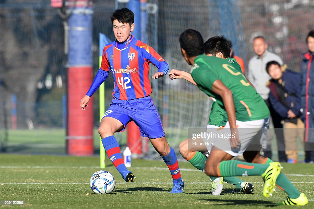 Rei Hirakawa#42 of FC Tokyo U-18 in action during the Prince Takamado Trophy U-18 Premier League East match between FC Tokyo U-18 and Aomori Yamada at FC Tokyo Kodaira Ground on December 11, 2016 in Kodaira, Tokyo, Japan.