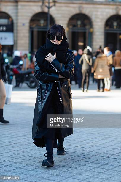 Rei Kawakubo after the Balenciaga show at Place Vendome on January 18 2017 in Paris France