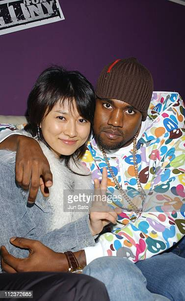 Rei Kikukawa and Kanye West during EA Games Hosts 'Def Jam Fight For NY' featured Kanye West Party Backstage at Alife Club in Tokyo Japan