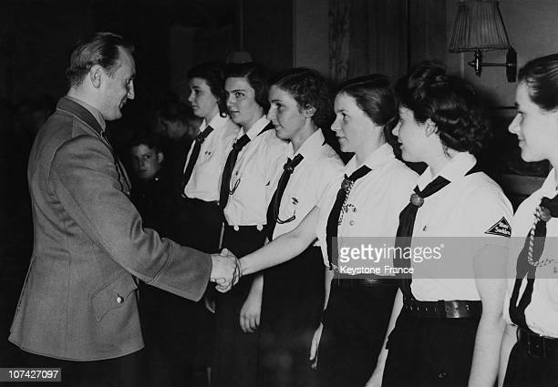 Reich Jungendfuhrer Axmann Meeting The Fighting Sport Winners Team In Germany On April 7Th 1941