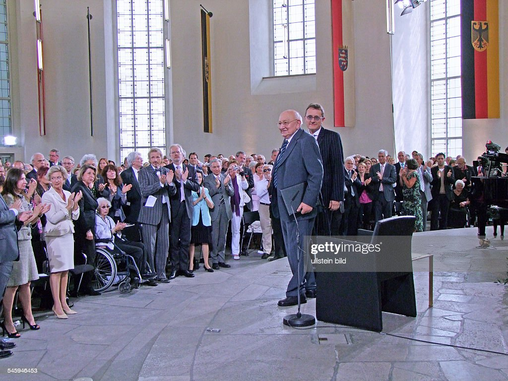 ReichRanicki Marcel Author Journalist Literary Critic Germany with Michael Gotthelf from the foundation 'BoerneStiftung' at the awards for the...