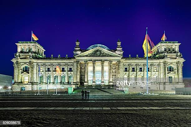 Reichstag building of German parliament by night