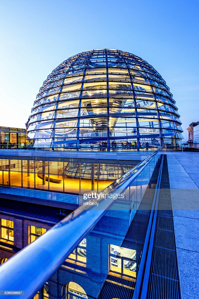 Reichstag dome in Berlin at dusk