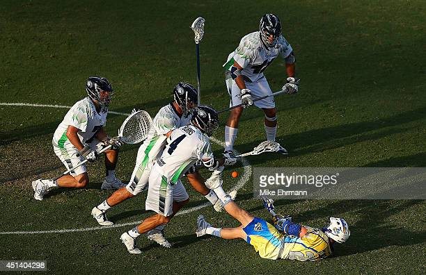Reid Acton of the Florida Launch takes a shot on goal during a game against the Chesapeake Bayhawks at FAU Stadium on June 28 2014 in Boca Raton...