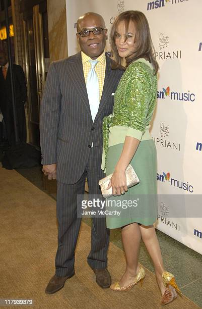 LA Reid and Erica Reid during Mariah Carey Celebrates the Release of Her Album 'The Emancipation of Mimi' and its Debut at at Cipriani in New York...