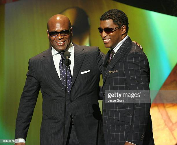 LA Reid and Kenny 'Babyface' Edmonds during 21st Annual Soul Train Music Awards Show at Pasadena Civic Center in Pasadena California United States