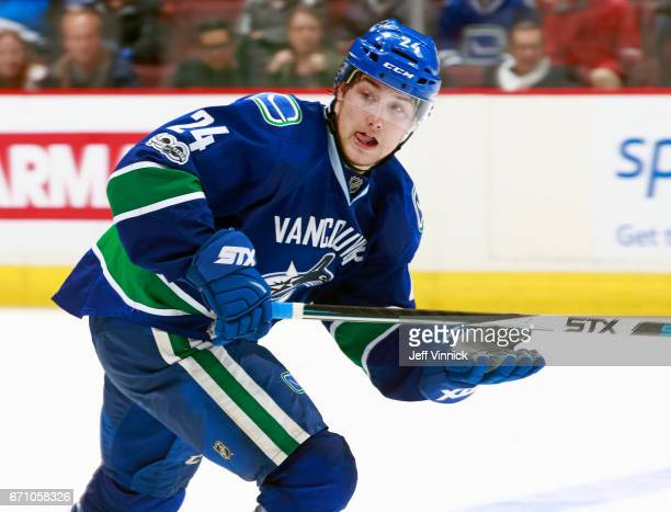Reid Boucher of the Vancouver Canucks skates up ice during their NHL game against the Los Angeles Kings at Rogers Arena March 31 2017 in Vancouver...