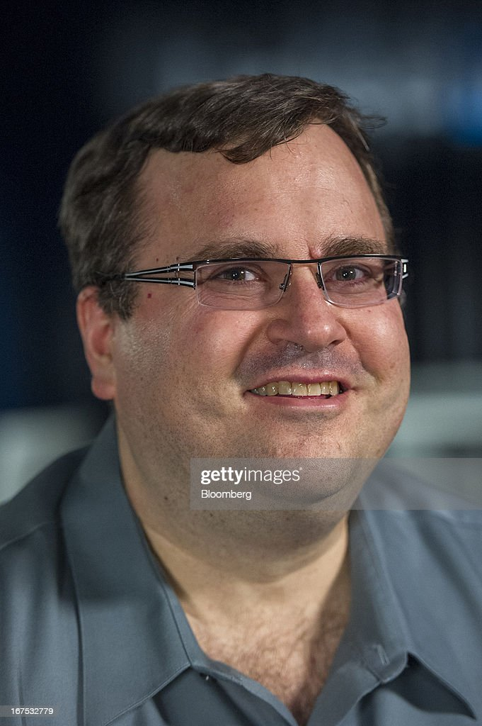 Reid Hoffman, chairman and co-founder of LinkedIn Corp., sits for a photograph before a Bloomberg West Television interview at the company's headquarters in Mountain View, California, U.S. on Thursday, April 25, 2013. LinkedIn Corp. added publishing platform Pulse, a news-reading application used by more than 20 million people in 190 countries, for news and content this month. Photographer: David Paul Morris/Bloomberg via Getty Images