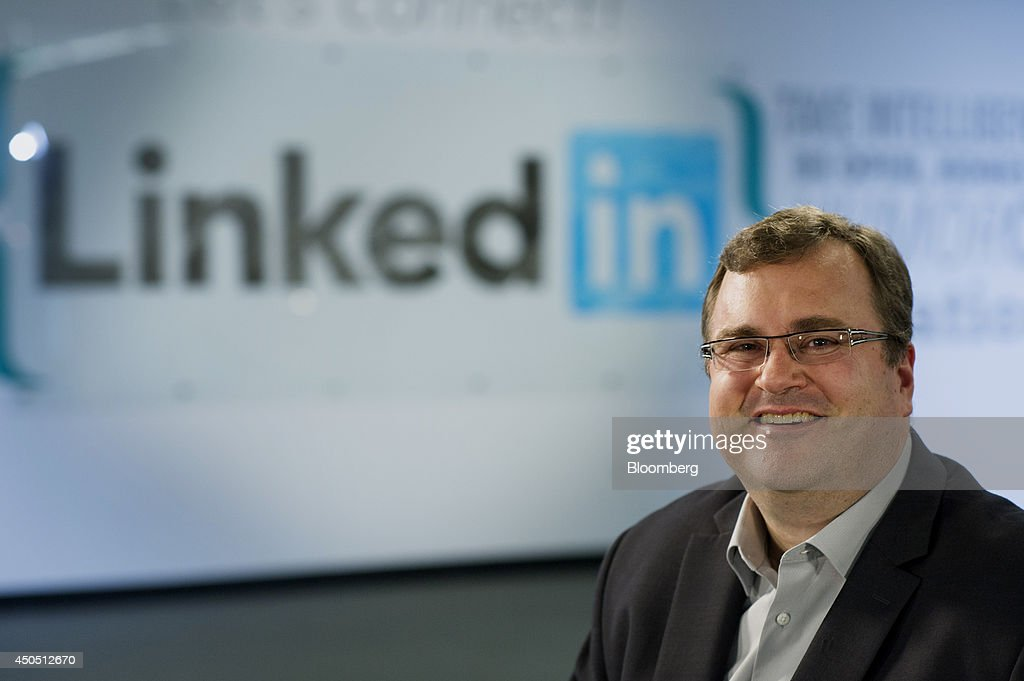<a gi-track='captionPersonalityLinkClicked' href=/galleries/search?phrase=Reid+Hoffman&family=editorial&specificpeople=6365854 ng-click='$event.stopPropagation()'>Reid Hoffman</a>, chairman and co-founder of LinkedIn Corp., sits for a photograph after a Bloomberg Television interview in Sunnyvale, California, U.S., on Thursday, June 12, 2014. LinkedIn announced last week that users will soon have more design license over their profile pages, with the option of adding stock images or a custom backdrop - similar to what's already available on Facebook and Twitter. Photographer: David Paul Morris/Bloomberg via Getty Images