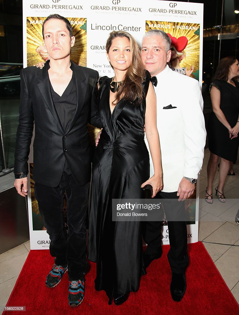 GK Reid, Indrani, and Gus Michael Farinella attend Markus + Indrani's 'ICONS' Launch Event and VIP Gala at Alice Tully Hall, Lincoln Center on December 11, 2012 in New York City.