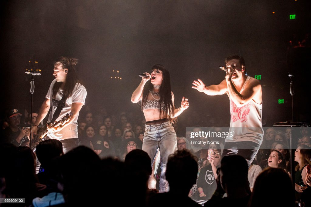 Reid Perry, Kimberly Perry and Neil Perry of The Band Perry perform at El Rey Theatre on March 20, 2017 in Los Angeles, California.