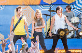 Reid Perry Kimberly Perry and Neil Perry of The Band Perry perform on ABC's 'Good Morning America' at Rumsey Playfield Central Park on August 14 2015...