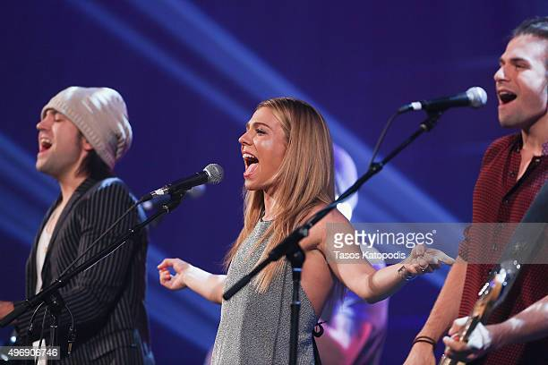 Reid Perry Kimberly Perry and Neil Perry of The Band Perry perform during the CBS Radio Presents Stars Strings on November 11 2015 in Chicago Illinois