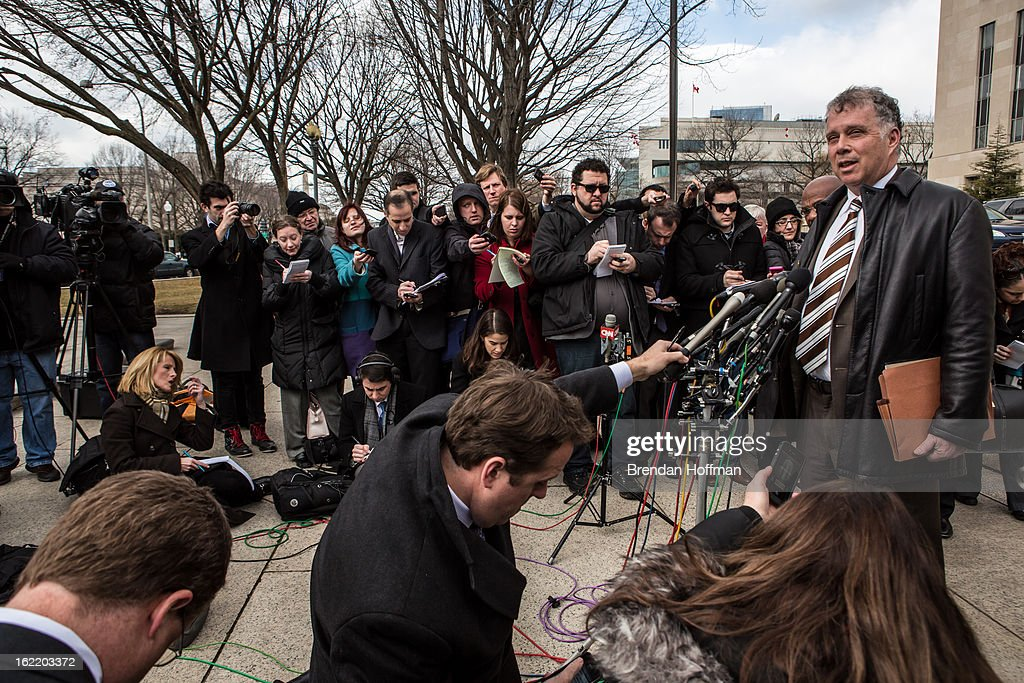 Reid Weingarten (R), the attorney for former Congressman Jesse Jackson, Jr. and his wife, former Chicago alderman Sandi Jackson, speaks to reporters outside the U.S. District Court for the District of Columbia on February 20, 2013 in Washington, DC. Both Jacksons are expected to plead guilty to federal charges of spending more than $750,000 in campaign cash on personal expenses.